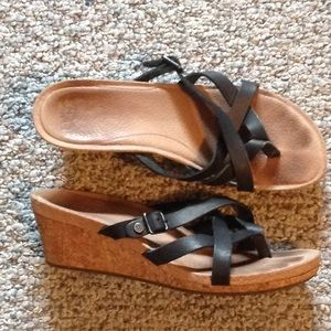 UGG Sandals Size 71/2 Black with cork wedge